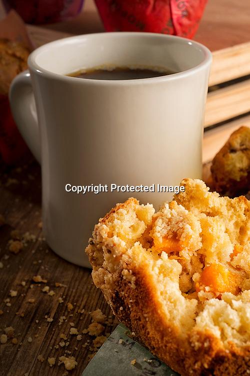 Mango muffin and coffee.