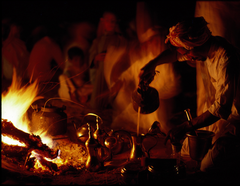 Bedouin preparing Tea and Arabic coffee in the desert, Saudi Arabia