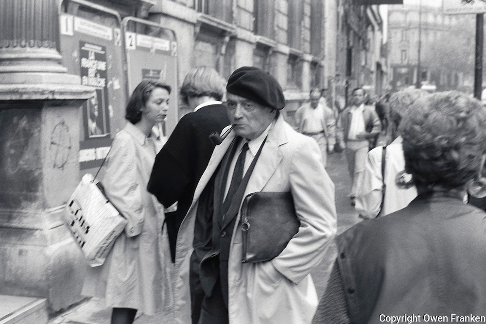Man with Beret and pipe, Paris-Photograph by Owen Franken