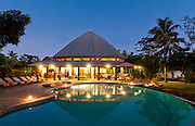 Dining room pavillion and swimming pool at Matangi Private Island Resort, Fiji.