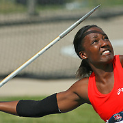 DAY - 13USA, Des Moines, Ia.  - Sharon Day heaved the javelin during the heptathlon on Friday.  Photo by David Peterson