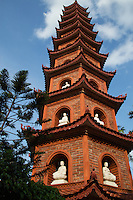 Tran Quoc Pagoda in Hanoi is the oldest pagoda in the city, originally constructed in the sixth century, making it more than 1400 years old. When founded the temple was sited on the shores of the Red River.  When confronted with the river's encroachment, the temple was relocated in 1615 to Ho Tay or West Lake as it is known in English.  A narrow causeway links it to the mainland.  Its architecture takes advantage of the watery landscape of the lake making the pagoda a picturesque attraction for tourism, as well as having a devout following among Hanoians.