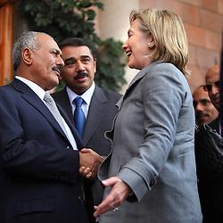 Secretary of State Hillary Rodham Clinton is greeted by Yemeni President Ali Abdullah Saleh in Sana'a, Yemen on Jan. 11, 2011.
