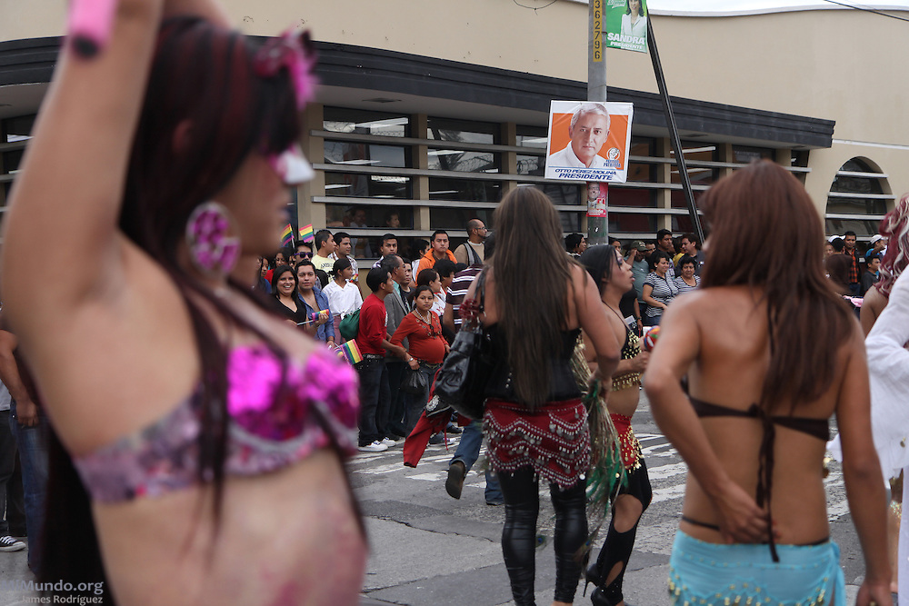 Thousands march through Guatemala City's Zone 1 in the 11th Annual LGBT Pride Parade; June 2011.