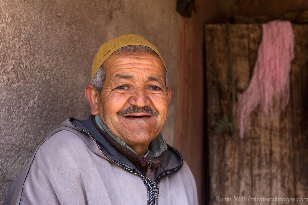 Africa, Morocco, Asni. Berber man at home in the village of Imlil in the Atlas Mountains.