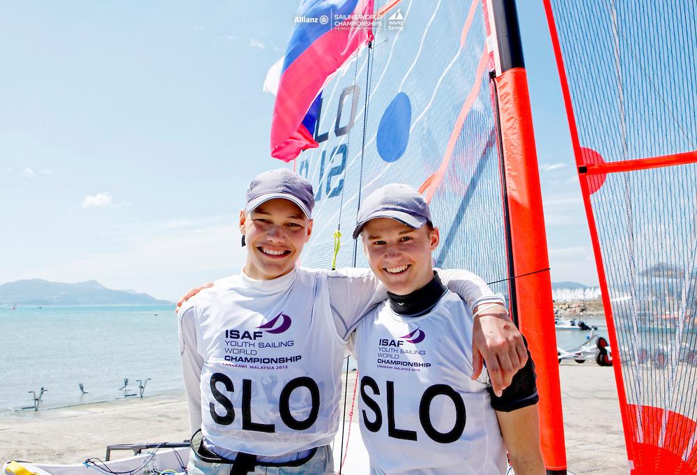 Gold Medal  29er Men<br />Slovenia29erMenCrewSLOAP1AnzePodlogar<br />Slovenia29erMenHelmSLOPJ1PeterJanezic<br />Day6, Final Day, 2015 Youth Sailing World Championships,<br />Langkawi, Malaysia