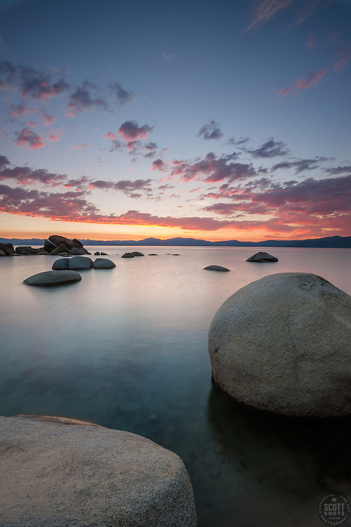 """""""Sunset at Whale Beach, Tahoe 5"""" - Photograph of a sunset at Whale Beach on the East Shore of Lake Tahoe.  Whale Rock can be seen in the distance."""