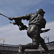 Willie Horton statue at Comerica Park stands approx. 13 ft tall and is cast in stainless steel. It sits on a granite base and stands with 5 other Detroit Tiger Hall of Fame statues.