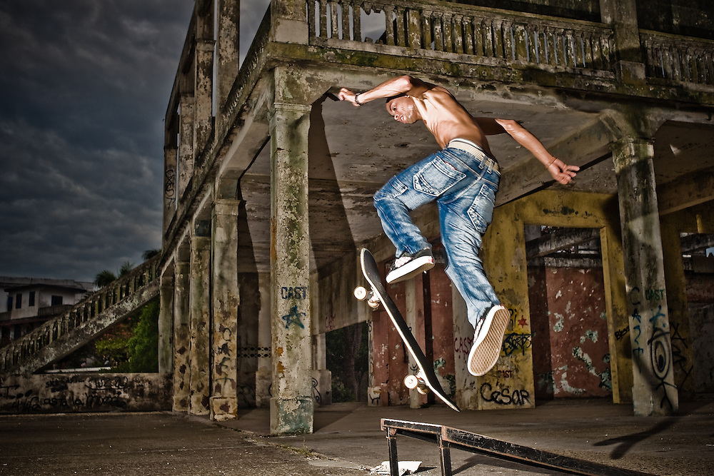 Local skateboarders turn the swimming pool deck of an old Casco Viejo mansion into a makeshift skatepark..