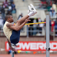 Martel Durant of the University of Akron clears the bar during the College Men's High Jump at the Penn Relays athletic meets Friday, April 27, 2012 in Philadelphia, PA.