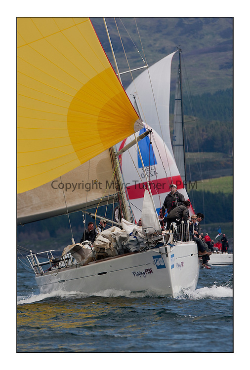Brewin Dolphin Scottish Series 2012, Tarbert Loch Fyne - Yachting..Perfect conditions for day 2 of racing...GBR603R ,Playing FTSE ,Jonathan Anderson, CCC ,First 47.7..