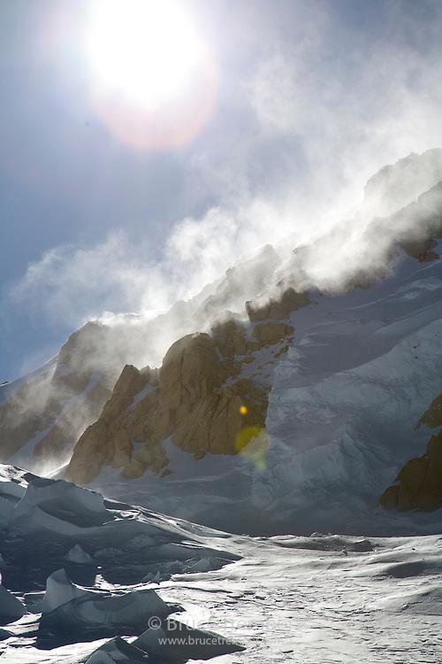 Crevasses on the Harper Glacier after a ferocious wind storm, Mt. McKinley, Denali National Park, Alaska