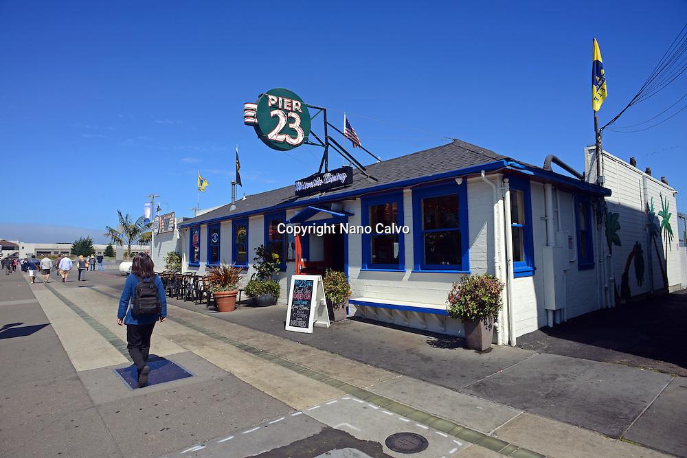 Pier 23 Cafe in port of San Francisco, California.