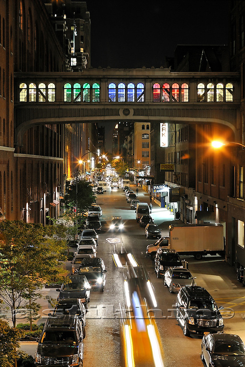 Street of Manhattan at night