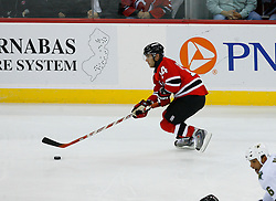 Oct 22, 2008; Newark, NJ, USA; New Jersey Devils right wing Brian Gionta (14) skates with the puck during the third period at the Prudential Center. The Devils defeated the Stars 5-0.