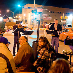 021312       Brian Leddy.Nate Haveman, Heather Haveman, Chad Meekhoff and Don Tamminga of the local group Winginit' perform on Coal Street during the Feb. 11 ArtsCrawl.