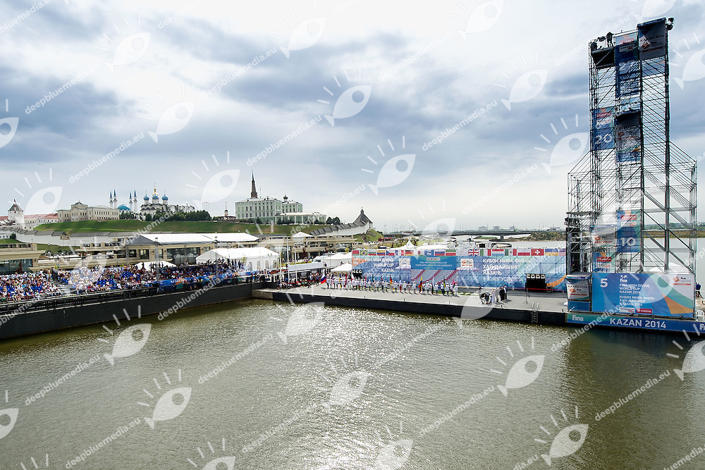 Opening Ceremony<br /> FINA High Diving World Cup 2014<br /> Kazan Tatartsan Russsia RUS Aug. 8 to 10 2014<br /> Kazanka River  Day01 - Aug.8 <br /> Photo G. Scala/Deepbluemedia