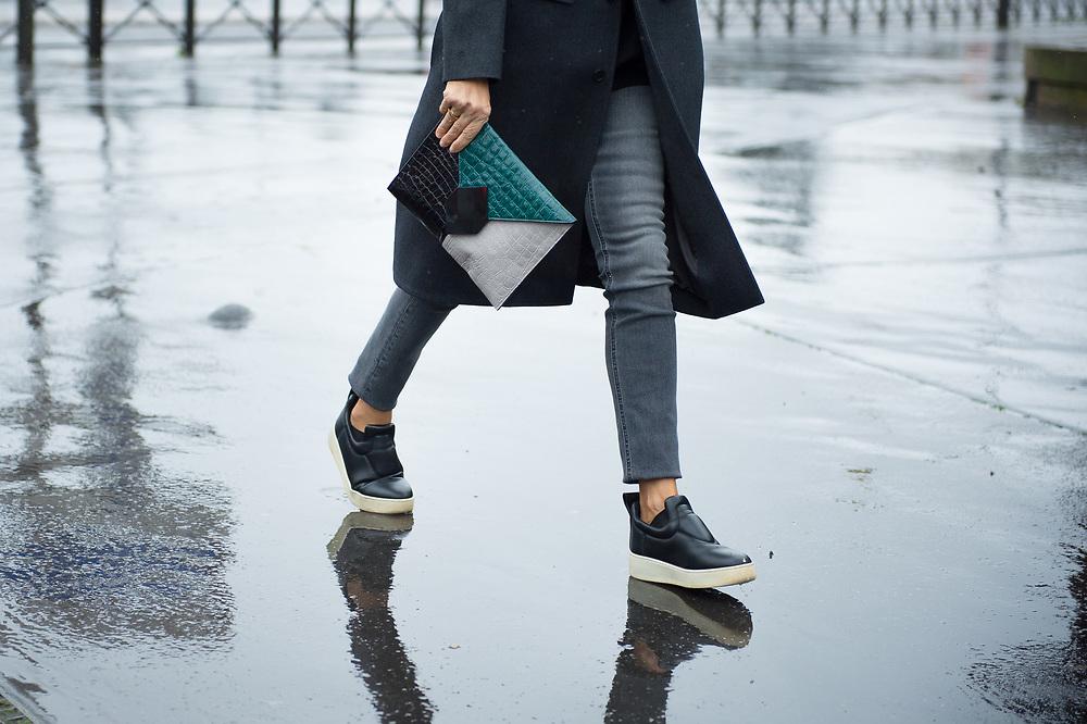 Green Portfolio and Black Leather Sneakers, Outside Balenciaga FW2017