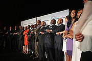 April 17, 2012 Washington, D.C: (L-R) Honorees and Guest hold arms in celebration of civil rights accomplishments as they attend Rev. Al Sharpton's  2012 National Action Network Convention held at the Walter E. Washington Convention Center from April 11-14, 2012 in Washington, D.C ..National Action Network (NAN) is one of the leading civil rights organizations in America and is at the forefront of the social justice movement, confronting issues such as police misconduct and abuse, voter rights, education, workers' right, healthcare awareness, anti-violence and more. Founded in New York City in 1991 by Rev. Al Sharpton and a group of activists, NAN is committed to the principles of nonviolent activism and civil disobedience as a direct outgrowth of the movement that was lead by the Rev. Dr. Martin Luther King, Jr. .(Photo by Terrence Jennings)