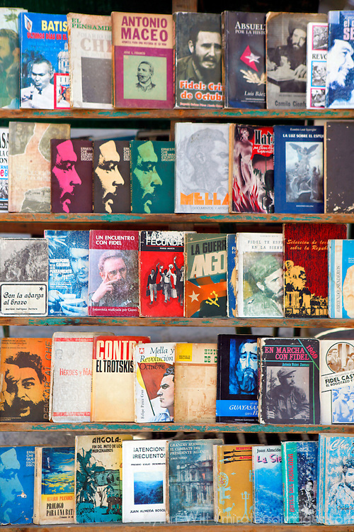 Central America, Cuba, Havana. Books of Cuba's history and personalities, for sale at the outdoor book market in Old Havana.