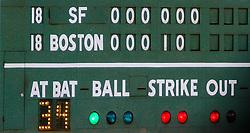Green Monster scoreboard, Boston 2007.