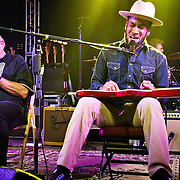 Charlie Musselwhite performing with Ben Harper at Stubb's BBQ, Austin, Texas, September 11, 2013.