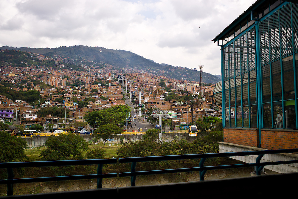Looking up towards Santo Domingo from the Acevedo metro station in Medellín, Antioquia, Colombia.