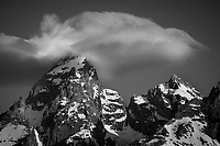 Intimate black and white shot of the Grand Teton, Grand Teton National Park, Wyoming