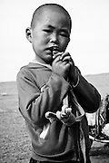 A young boy in rural Mongolia.