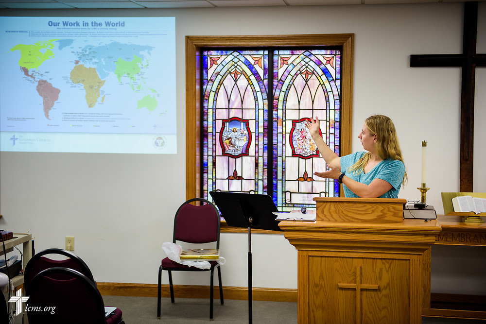 Joanna Johnson, new GEO missionary to Taiwan, practices her missionary presentation with her father, the Rev. Scott Johnson, pastor at St. John's Lutheran Church, Conover, N.C, at the parish on Friday, April 21, 2017. Joanna grew up at the church and said she'll miss time with her family once she leaves for the foreign mission field. LCMS Communications/Erik M. Lunsford
