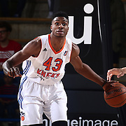 Westchester Knicks Forward THANASIS ANTETOKOUNMPO (43) looks to pass the ball in the first half of a NBA D-league regular season finale between the Delaware 87ers and the Westchester Knicks Friday, Apr. 01, 2016, at The Bob Carpenter Sports Convocation Center in Newark, DEL.<br /> <br /> The Westchester Knicks will open up post season play verses the sioux skyforce Tuesday, Apr 5, 2016, at The Westchester County Center in White Plains, NY.