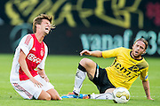 BREDA - NAC - Jong Ajax , Voetbal , Seizoen 2015/2016 , Jupiler league , Rat Verlegh Stadion , 21-08-2015 , NAC Breda keeper Ronnie Stam (r) maakt een overtreding op Jong Ajax speler Lucas Andersen (l)