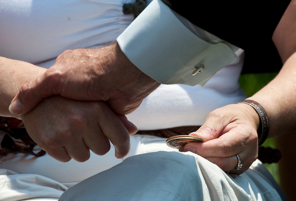 May 31, 2010 - Washington, District of Columbia, U.S., - Vice President Joe Biden presents his Vice Presidential Coin to a woman during his visit Arlington National Cemetery on Memorial Day.(Credit Image: © Pete Marovich/ZUMA Press)