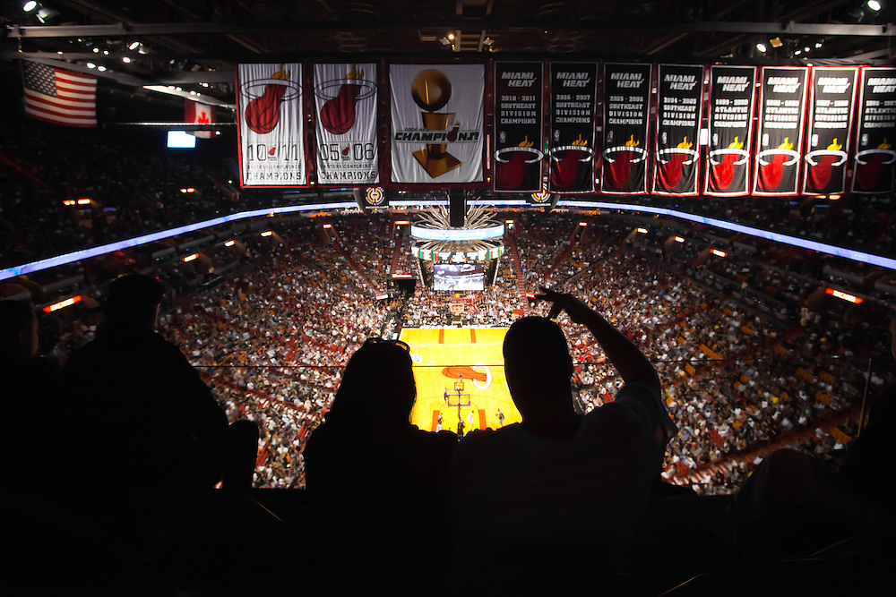 MIAMI, FL -- January 29, 2012 -- Miami fans cheer their team on from the upper deck during the Heat's 97-93 win over the Chicago Bulls at American Airlines Arena in Miami, Fla., on Sunday, January 29, 2012.  (Chip Litherland for ESPN the Magazine)