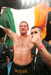 Kevin McBride poses after his fight with Mike Tyson at the MCI Center in Washington, DC.  McBride won the fight when Tyson failed to answer the bell for the 7th round.