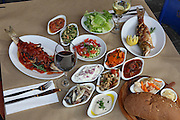Deep fried fish and a mezze of Mediterranean Salads