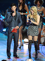 New York, NY-September 13, 2009: Taylor Lautner and Shakira perform during the MTV Video Music Awards at Radio City Music Hall on September 13, 2009 in New York City (Photo by Jeff Snyder/PictureGroup)