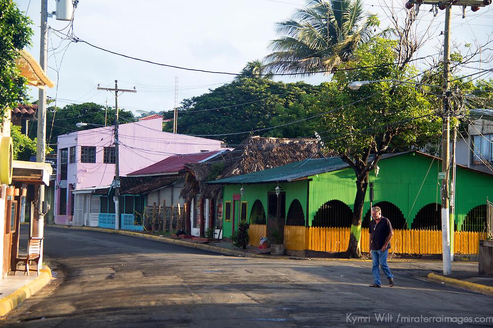 Central America, Nicaragua, San Juan del Sur. San Juan del Sur street.