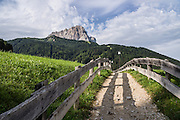Walk an idyllic path in Selva di Val Gardena village beneath Langkofel/Sassolungo peak on your way to Vallunga, in the Dolomites, South Tyrol, Italy, Europe. The beautiful ski resort of Selva di Val Gardena (German: Wolkenstein in Gröden; Ladin: Sëlva Gherdëine) makes a great hiking base in the Dolomites, in the South Tyrol region (Trentino-Alto Adige/Südtirol) of Italy, Europe. For our favorite hike in the Dolomiti, start from Selva with the first morning bus to Ortisei, take the Seceda lift, admire great views up at the cross on the edge of Val di Funes (Villnöss), then walk 12 miles (2000 feet up, 5000 feet down) via the steep pass Furcela Forces De Sieles (Forcella Forces de Sielles) to beautiful Vallunga (trail #2 to 16), finishing where you started in Selva. The hike traverses the Geisler/Odle and Puez Groups from verdant pastures to alpine wonders, all preserved in a vast Nature Park: Parco Naturale Puez-Odle (German: Naturpark Puez-Geisler; Ladin: Parch Natural Pöz-Odles). UNESCO honored the Dolomites as a natural World Heritage Site in 2009.