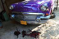Purple Buick being repaired in San Antonio de Rio Blanco, Mayabeque, Cuba.