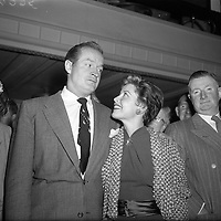 Bob Hope and Gloria de Haven arrive in Dublin to a reception by Press and Cinema personnel. <br />