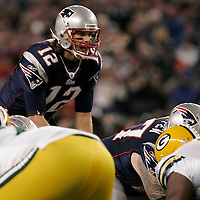 New England Patriots quarterback Tom Brady lines up against the Green Bay Packers in the second quarter at Gillette Stadium in Foxboro, Massachusetts on December 19, 2010.  The Patriots defeated the Packers 31-27.  UPI/Matthew Healey