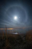 A 22° Moon Halo over Lake Michigan at Empire, Michigan