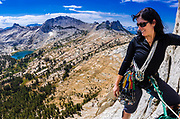 Climber on Cathedral Peak, Tuolumne Meadows, Yosemite National Park, California