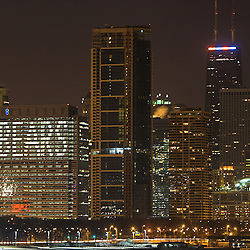 The Chicago Skyline, including the Hancock Building, is  brightly lit  in anticipation of the Bears NFC Championship game appearance.