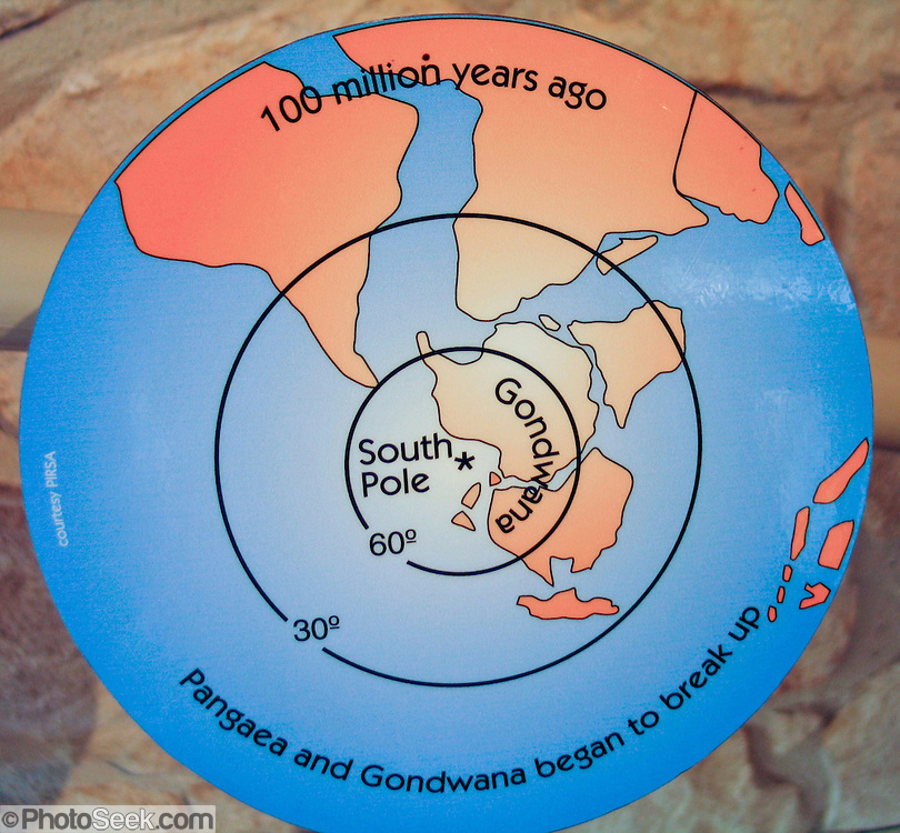 Pangaea and Gondwana began to break up 100 million years ago, as explained by plate tectonics and continental drift.