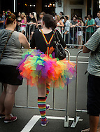 A female spectator dressed in bright rainbow-coloured clothes stands behind a barrier to watch the Auckland Pride Parade.