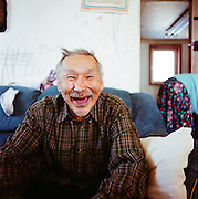 Moris Kiyutelluk, one of the original contributors to the 1951 Eskimo Cookbook, in Shishmaref, Alaska in March 2010.