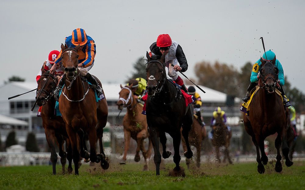 October 31, 2015:  Found with Ryan Moore defeats Golden Horn (center) With Frankie Dettori to win the Breeders' Cup Turf at Keeneland Race Track in Lexington, Kentucky. Evers/ESW/CSM