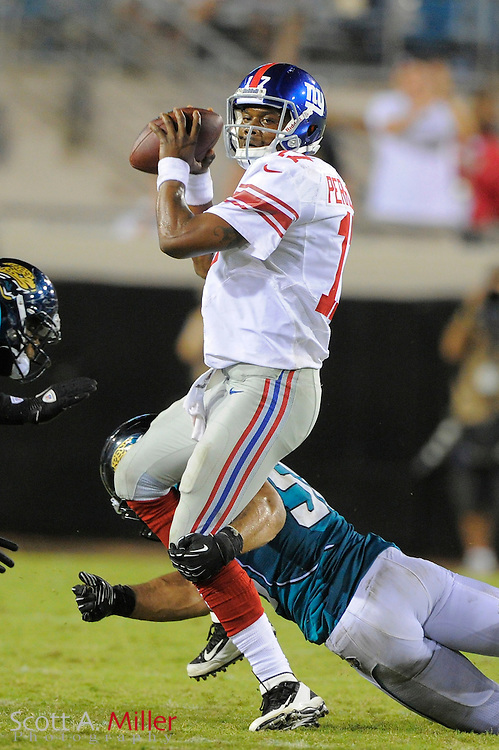 New York Giants quarterback Ryan Perrilloux (17) during the Giants NFL preseason game against the Jacksonville Jaguars at EverBank Field on August 10, 2012 in Jacksonville, Florida. ..©2012 Scott A. Miller..